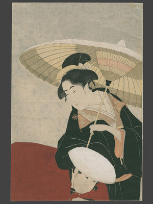 Eishosai Choki: Beauty in the snow and her servant - The Art of Japan