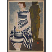 Okiie: Young Woman in a Striped Dress 12/50 - The Art of Japan