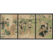 Utagawa Kunisada: Bijin play and drink in the garden of a teahouse - The Art of Japan