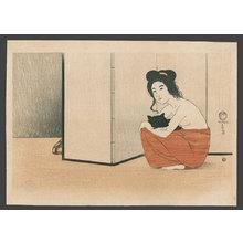 Fritz Capelari: Nude Woman Holding a Black Cat - The Art of Japan