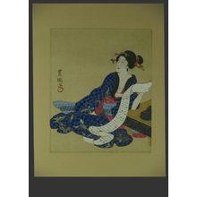 無款: Bijin leaning on a Go Board - The Art of Japan