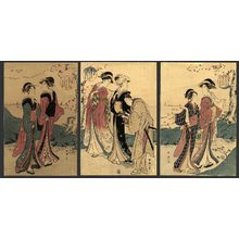 勝川春山: Mitsu akebono (3 pairs of beauties at dawn) - The Art of Japan
