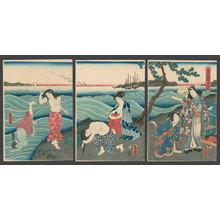 歌川国貞: The Shining Prince Genji Amuses Himself at the Seashore, #3 - The Art of Japan