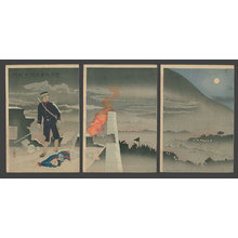 小林清親: Despite Bullets Falling Like Rain, He Alone, Opens the Hyonmu Gate - The Art of Japan