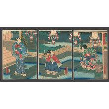 Utagawa Kunisada: Prince Genji in a Temple Garden - The Art of Japan