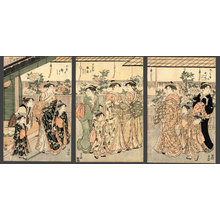 鳥居清長: Women of the Yoshiwara and flowering peonies - The Art of Japan