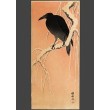 Shoson: Carrion crow on a snow covered branch at dawn - The Art of Japan