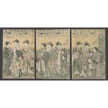 Katsukawa Shuncho: Courtesans parade in the Yoshiwara - The Art of Japan