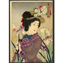 Tsukioka Yoshitoshi: Looking as if she is enjoying a stroll: a lady of the Meiji era - The Art of Japan