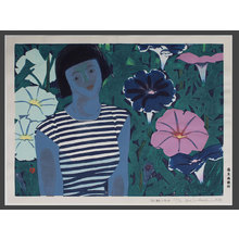 橋本興家: Young Woman Amid Morning Glories 17/30 - The Art of Japan