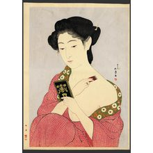 橋口五葉: Woman applying makeup (Powdering) - The Art of Japan