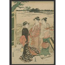 Katsukawa Shuncho: Bijin boarding a pleasure boat on the Sumidagawa - The Art of Japan