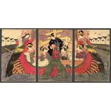歌川豊国: A mitate of the Takarabune with courtesans representing the 7 Lucky Gods in the port of Nagasaki - The Art of Japan