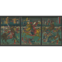 歌川国芳: Shukuyu, wife of Mokaku, overthrowing Choki and Machui - The Art of Japan
