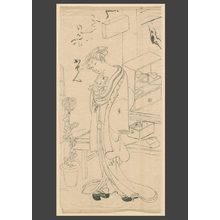 Ippitsusai Buncho: Teashop beauty with a cat in her kimono - The Art of Japan