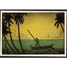 Charles Bartlett: Man in an outrigger canoe 45/75 - The Art of Japan