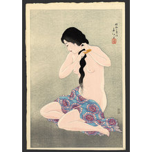 名取春仙: Combing her hair - The Art of Japan