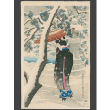伊東深水: Snow at the Shrine (105/150) - The Art of Japan