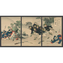 Mizuno Toshikata: In the Chinson Area, Five military engineers, Rout Over One Hundred Chinese Soldiers - The Art of Japan