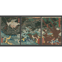 Utagawa Yoshitsuya: Princess Shirinui Fights off the Evil Sotoku-in - The Art of Japan