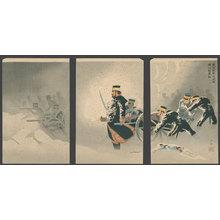 小林清親: Despite the Snow, the Japanese Army Captures the Stronghold at Wei-Hai-Wei - The Art of Japan