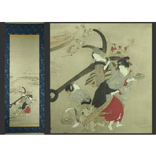 Teisai Hokuba: Bijin on a beach with a great anchor - The Art of Japan