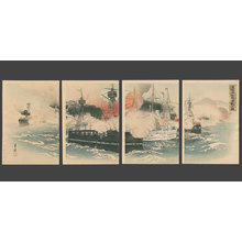 尾形月耕: Naval Battle in which we Capture Haiyang Island - The Art of Japan