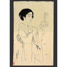 橋口五葉: Woman with fan and cricket cage - The Art of Japan