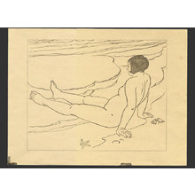 Ishikawa Toraji: Nude on a beach (keyblock for an unpublished print) - The Art of Japan