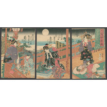 歌川貞秀: Mirror of fashions in the Yoshiwara: Evening hours of the moon - The Art of Japan