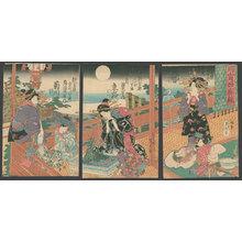 Utagawa Sadahide: Mirror of fashions in the Yoshiwara: Evening hours of the moon - The Art of Japan