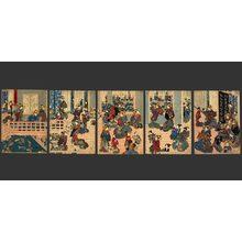 Utagawa Kuniyoshi: 2nd Floor of the Kadoebiya Green house in the Shin-Yoshiwara - The Art of Japan