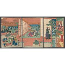 歌川国貞: A complete stage view of the action and scenery for Act 7 of
