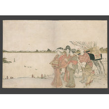 葛飾北斎: Long surimono - Oiran on a pilgrimage on the banks of the Sumidagawa - The Art of Japan