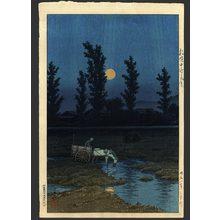 川瀬巴水: Evening moon at Nakanoshima - The Art of Japan