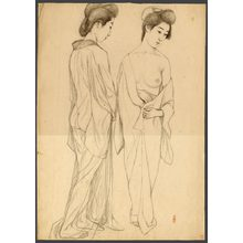 Hashiguchi Goyo: #10 Two Standingdraped figures - The Art of Japan