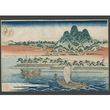 屋島岳亭: A general view of Tempozan Park on the Aji River - The Art of Japan