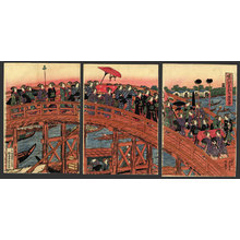 Keisai Eisen: Mitate of a Daimyo procession by women crossing Ryogoku Bridge - The Art of Japan