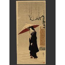 Fritz Capelari: Woman in Snow (Fence and Plum Tree) - The Art of Japan
