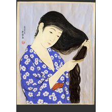 橋口五葉: Woman combing her hair - The Art of Japan