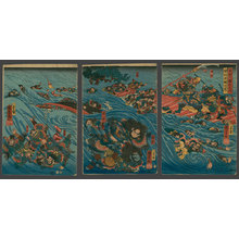 歌川国芳: Kwanu Destroying the Seven Armies of Gi (Wei) in a Great River Battle - The Art of Japan