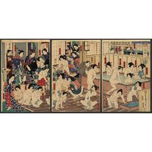 豊原国周: The licensed quarters in bloom in the bath - The Art of Japan