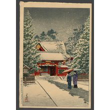 川瀬巴水: Snow at Hie Shrine (New Years Day) - The Art of Japan