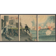 小林清親: Our Forces Great Victory in the Battle of the Yellow Sea, 3rd Illustration. - The Art of Japan