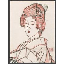 伊東深水: Drawing - Bust Portrait of a Bijin - The Art of Japan