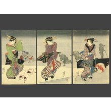 Utagawa Kunisada: Street Scene at Night in Edo - The Art of Japan