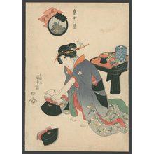 Utagawa Kunisada: A Courtesan assembling pillows - The Art of Japan