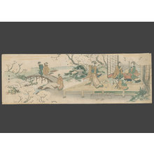 Shunsen: Geisha entertaining a client at a teahouse garden - The Art of Japan