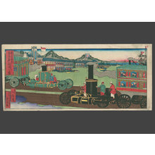 Konobu: Steam engine: locomotive traffic, Port of Kobe in background. - The Art of Japan