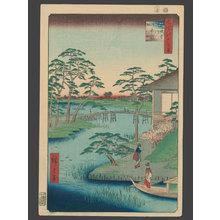 歌川広重: Mokubo Temple and Fields by the Uchi River - The Art of Japan